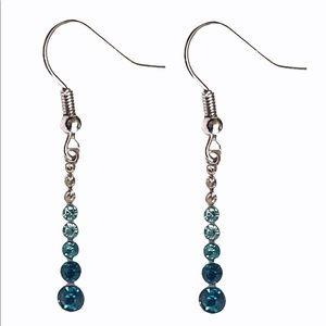 Silver Tone Blue Gradient Earrings